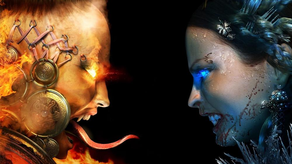 Fire and ice face wallpaper