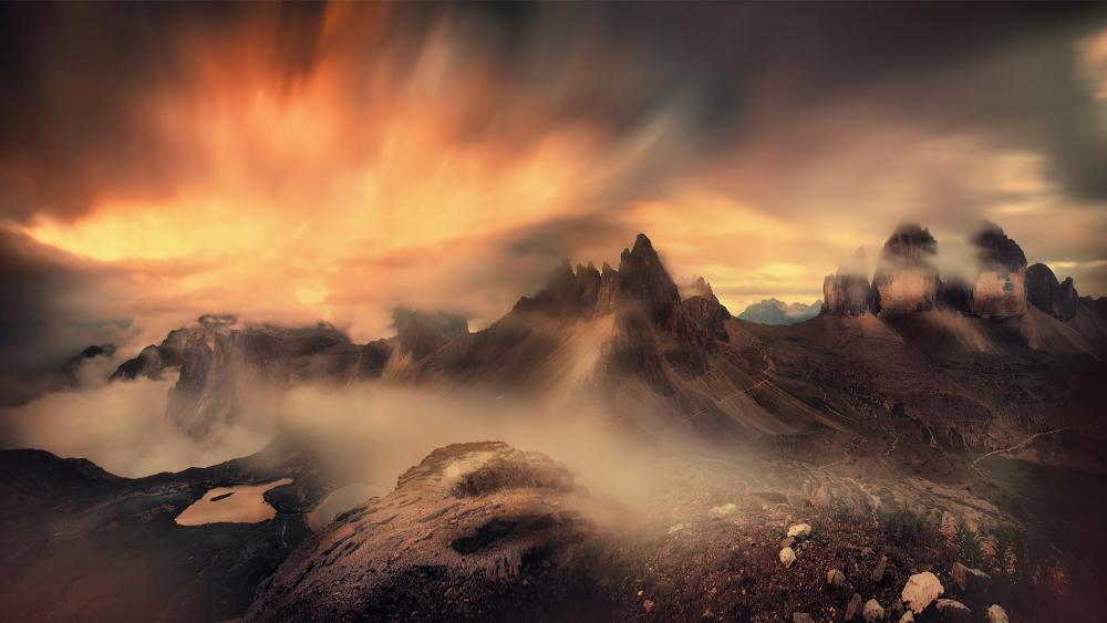 Foggy Dolomites wallpaper