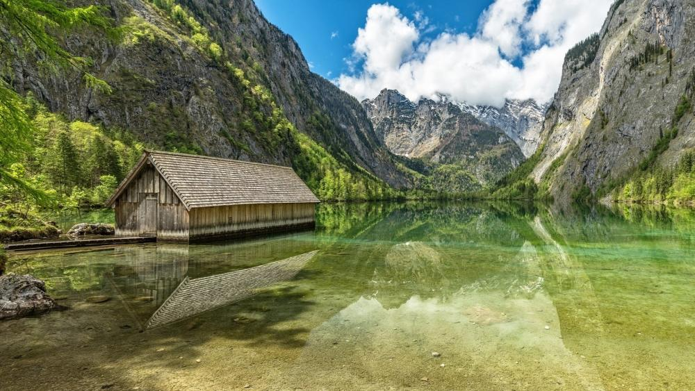 Boathouse at the Berchtesgaden National Park Obersee Lake (upper lake) wallpaper