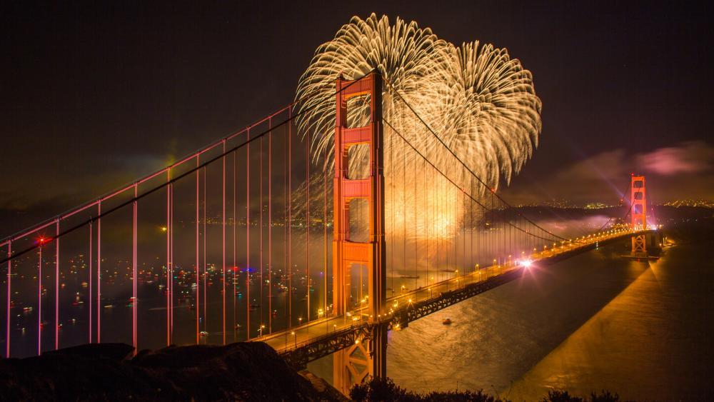 Golden Gate Bridge fireworks wallpaper