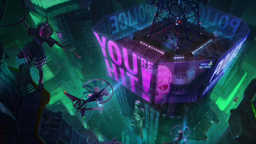 Cyberpunk hologram city wallpaper
