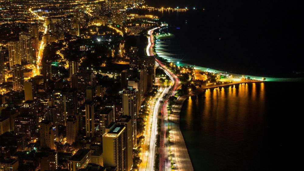 Chicago Nighttime City Lights wallpaper