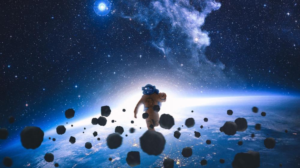 Astronaut running in space wallpaper