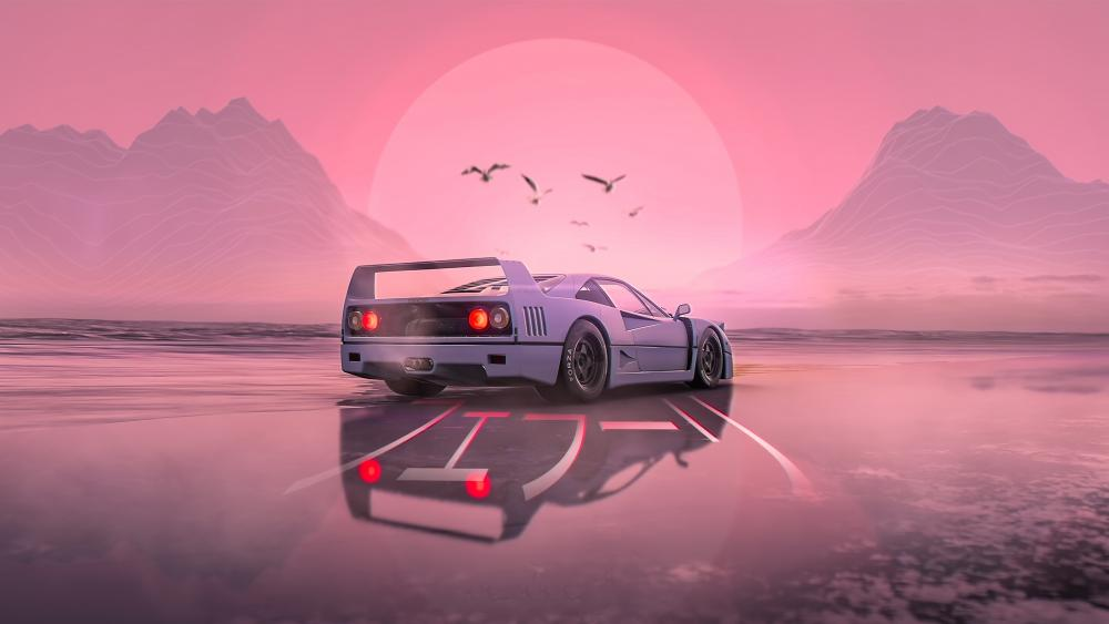 Retrowave sports car wallpaper