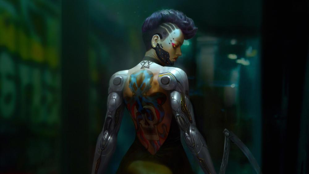 Cyberpunk tatto girl wallpaper