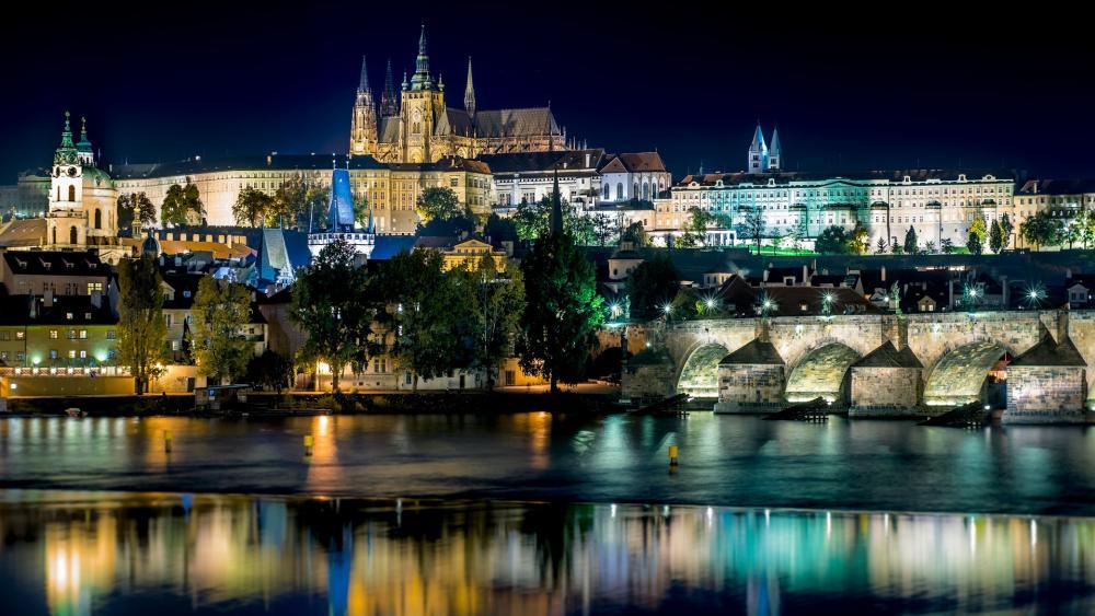Prague Castle by night wallpaper