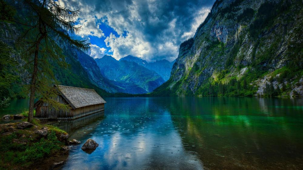Obersee Lake (upper lake) in Berchtesgaden National Par wallpaper