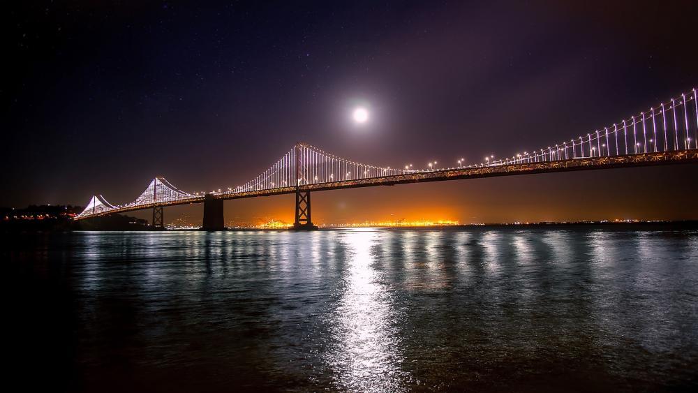 San Francisco – Oakland Bay Bridge at night wallpaper