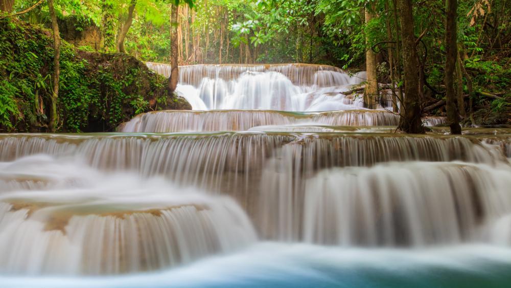 Huay Mae Kamin Waterfall In Kanjanaburi Thailand wallpaper