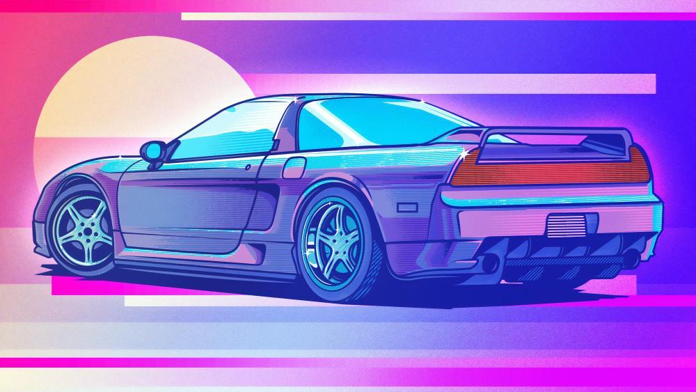 Honda NSX retrowave art wallpaper