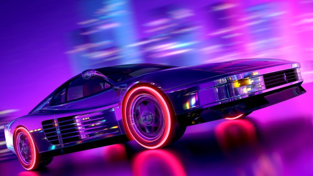 Ferrari Testarossa - Neon retrowave style wallpaper