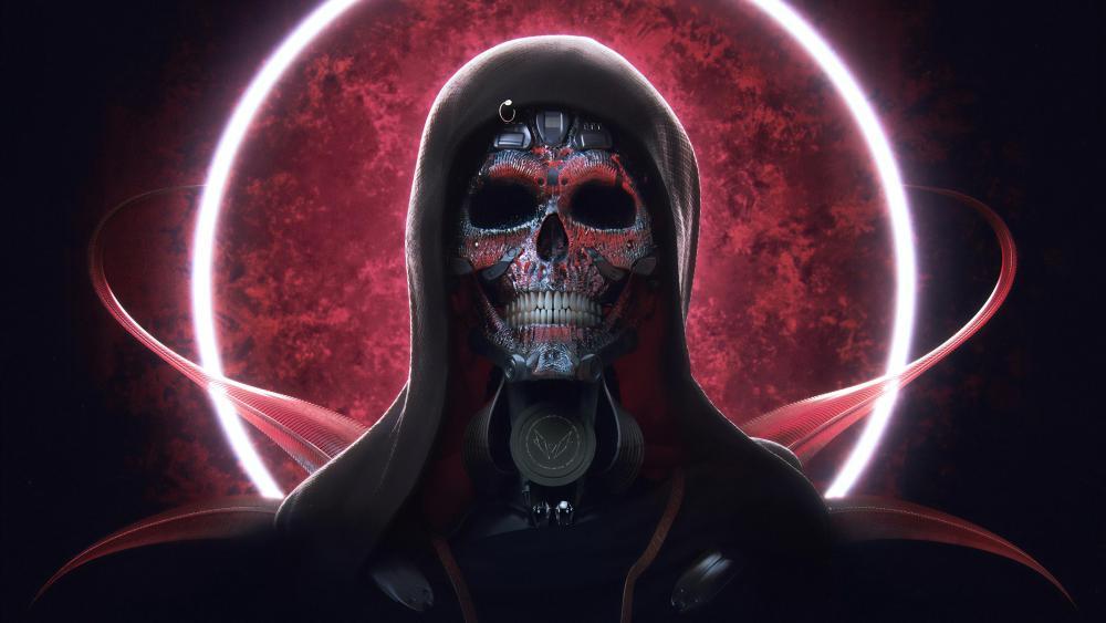 Cyborg skull wallpaper