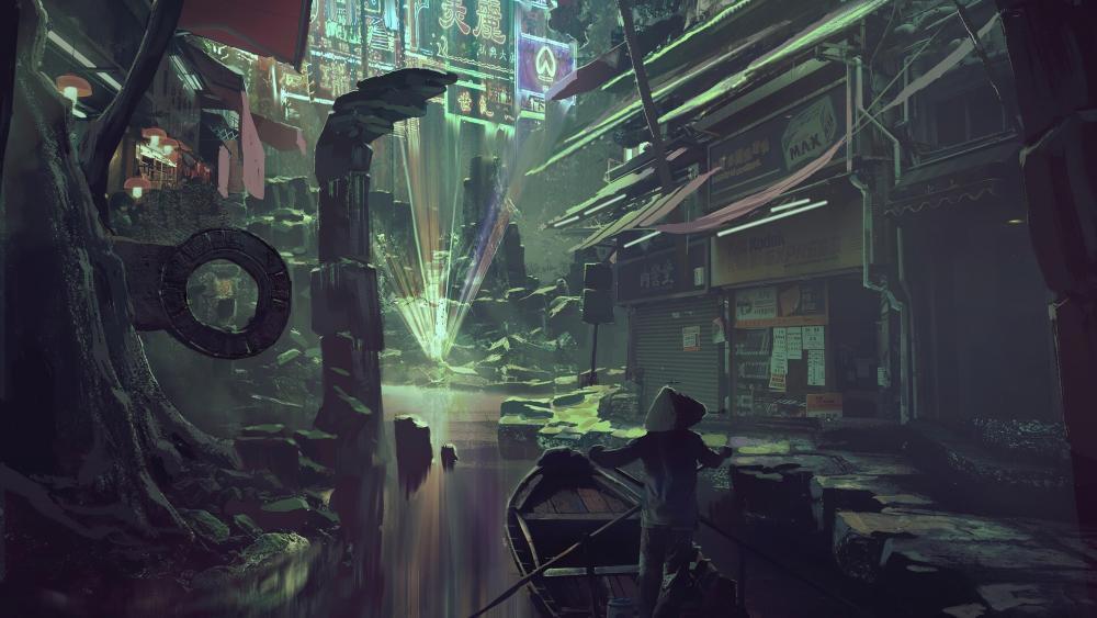 Cyberpunk market set in ancient ruins wallpaper