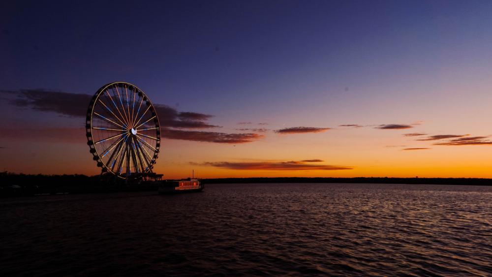 Ferris wheel at sunset wallpaper