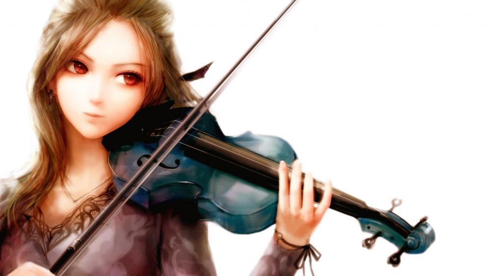 Anime Girl Playing The Violin wallpaper