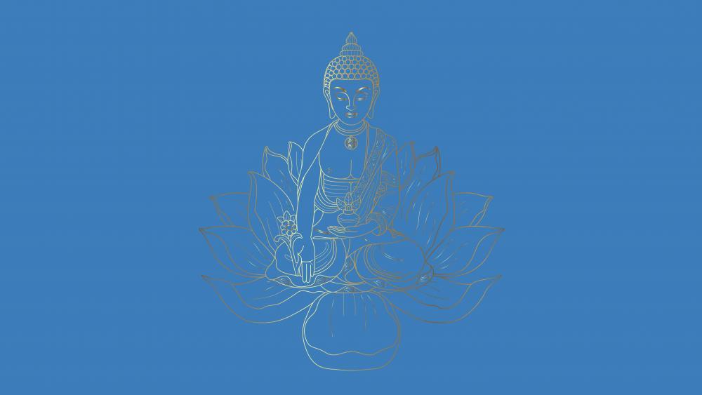 Buddha sitting on a lotus wallpaper