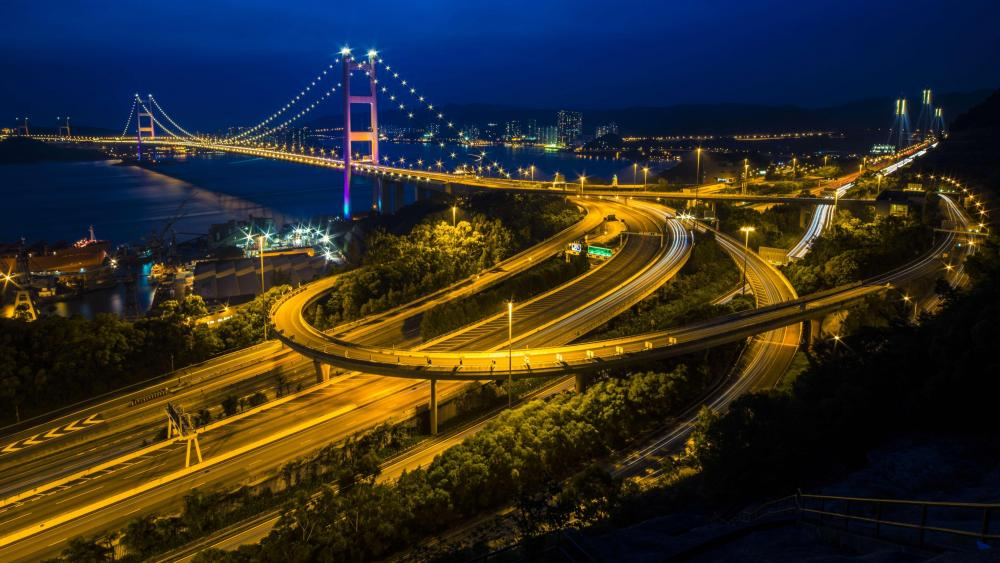 The Tsing Ma Bridge in Hong Kong wallpaper