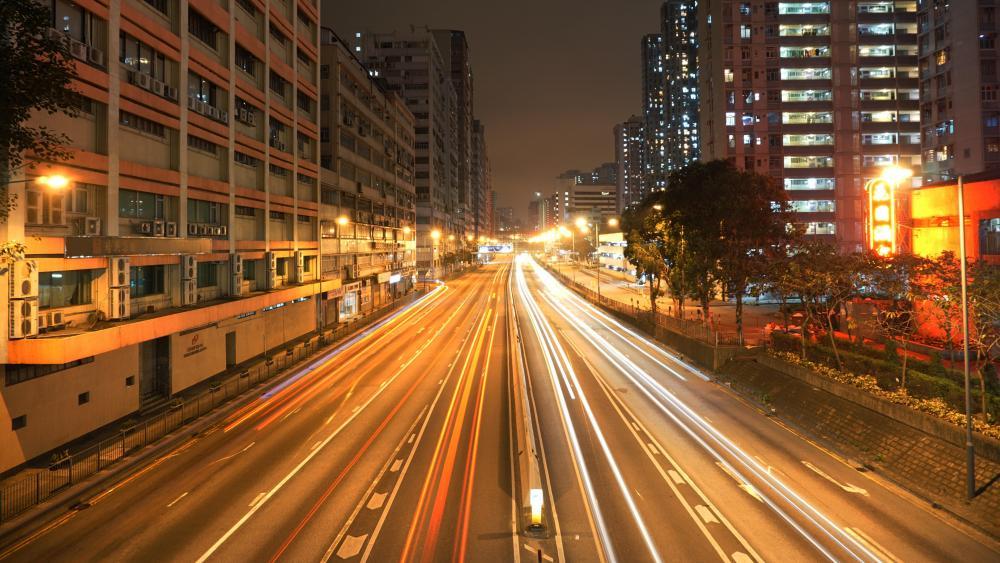 Light Trails on Kwai Chung Road wallpaper
