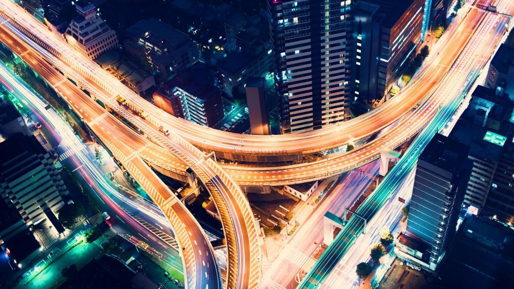Directional T interchange in Tokyo wallpaper