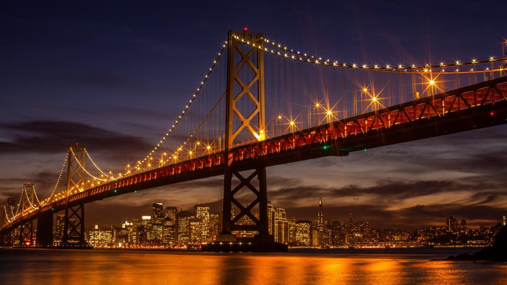 San Francisco–Oakland Bay Bridge by night wallpaper