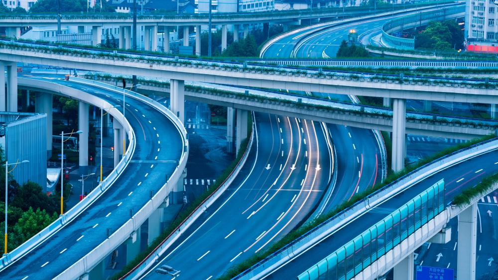 Freeway Interchange in Shanghai wallpaper