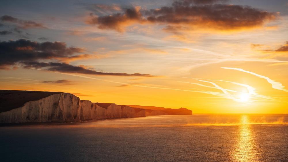 Seven Sisters Cliffs at sunset wallpaper