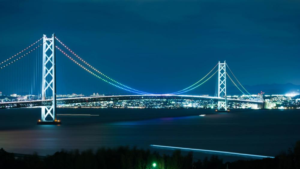Akashi-Kaikyo Bridge at Night wallpaper