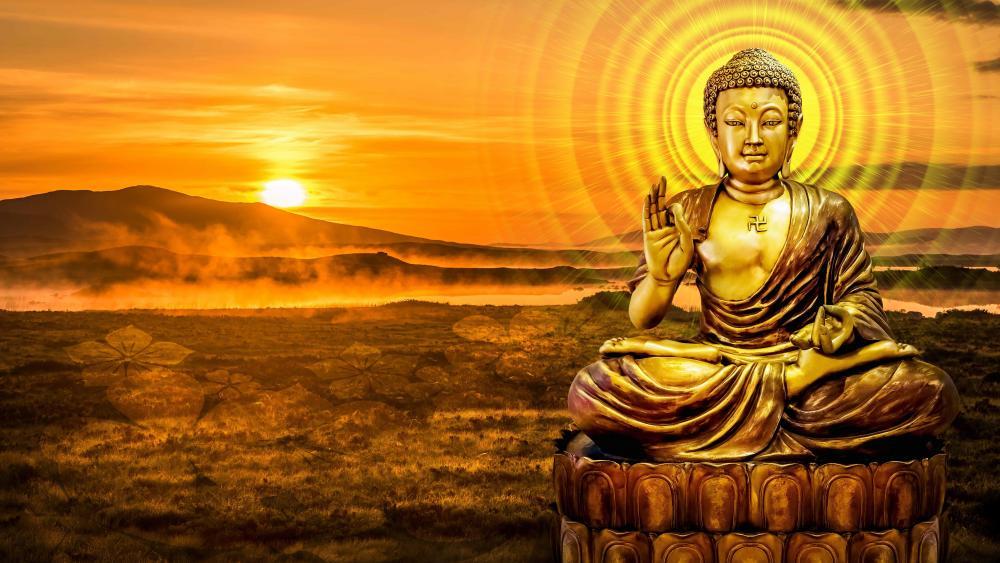 Gold Buddha statue wallpaper