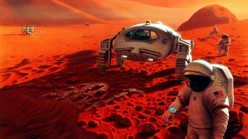 Mars surface scifi art wallpaper