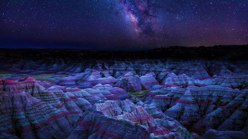 Badlands National Park by night wallpaper