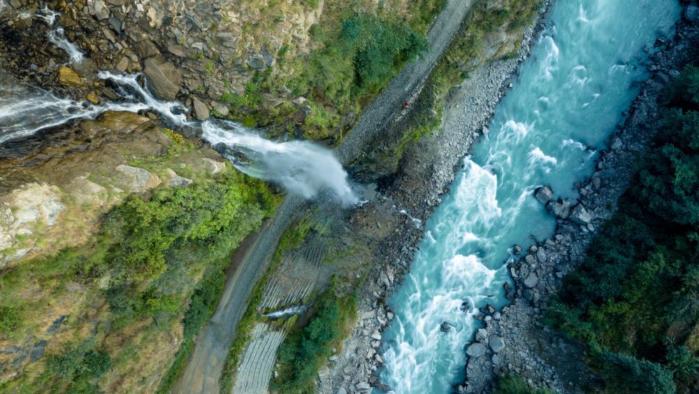 Aerial View of Waterfall in Nepal wallpaper