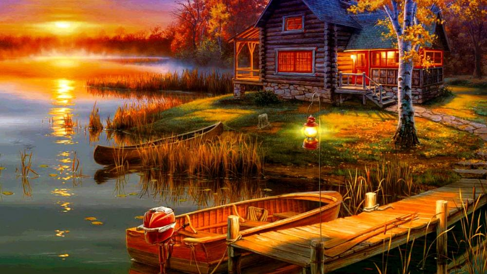 Serenity At Sunset On The Lake wallpaper