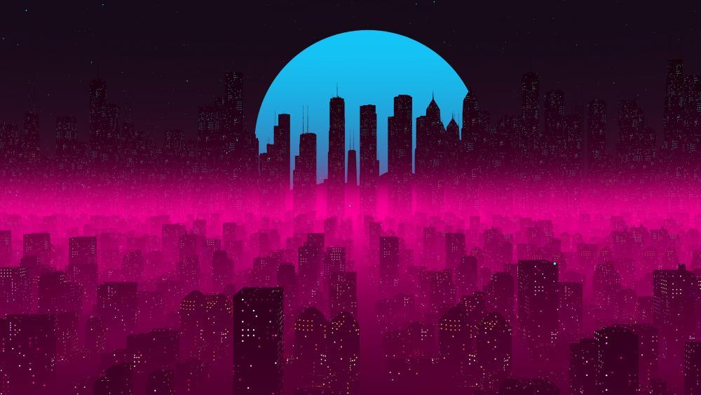Pink fantasy city at night wallpaper