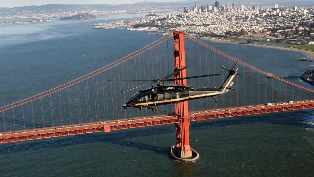 Black Hawk Helicopter Flies Over The Golden Gate Bridge wallpaper