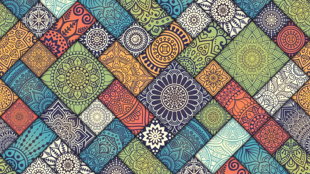 Vintage patterned tiles wallpaper