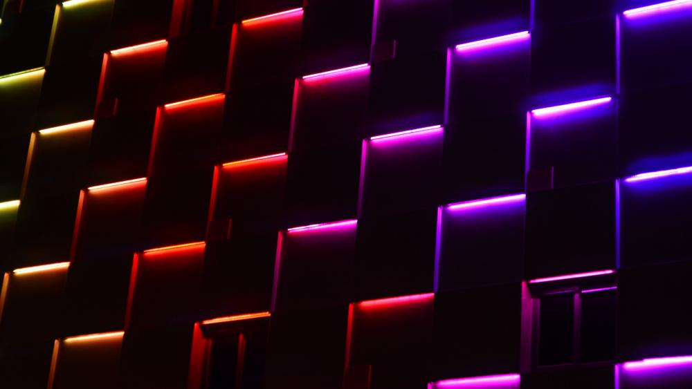 Neon building facade wallpaper