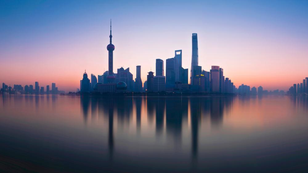 Shanghai Pudong cityscape reflection wallpaper