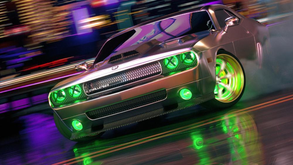 Dodge Challenger neon art wallpaper