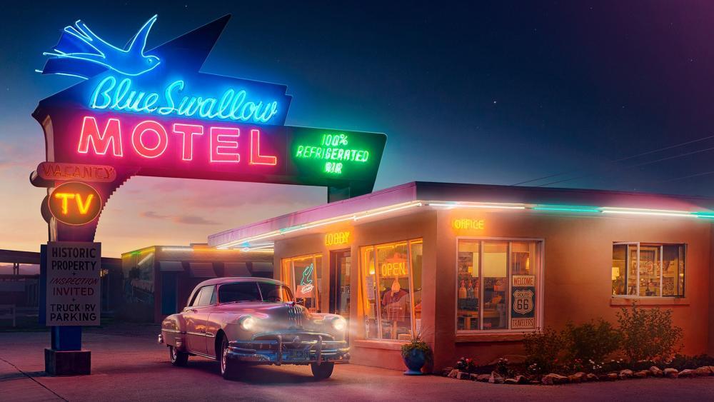 Blue Swallow Motel vintage photo wallpaper