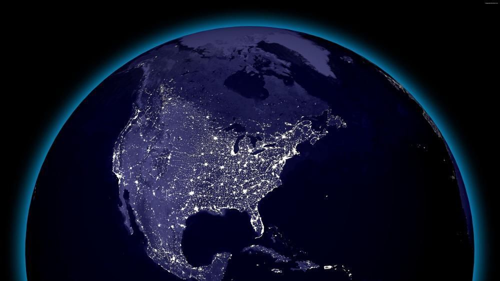 Globular View of North American City Lights at Night wallpaper