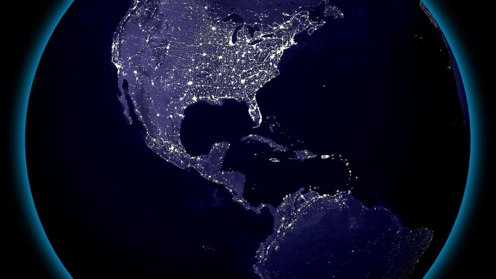Western Hemisphere's City Lights at Night wallpaper