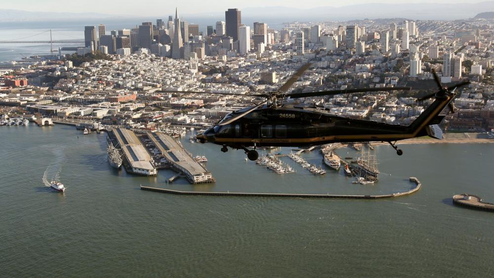 Black Hawk Helicopter Flies Over San Francisco wallpaper