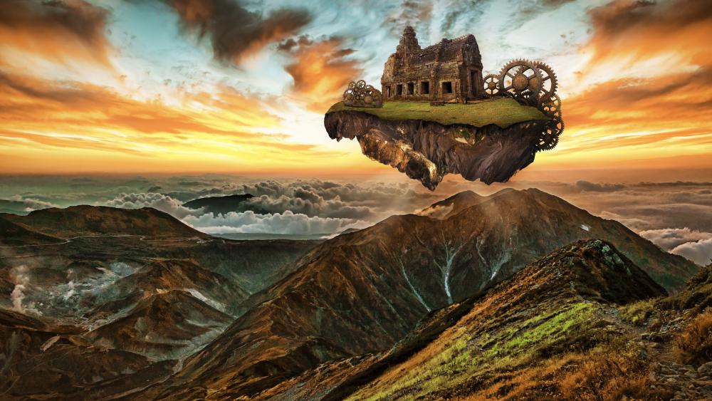 Floating island with mechanical ruins over mountains wallpaper