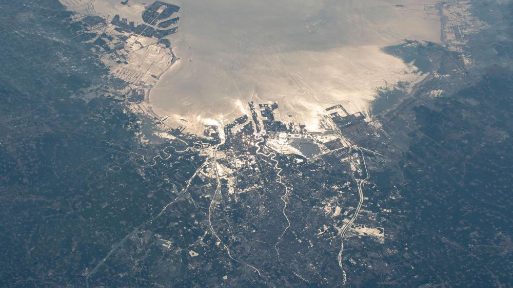 Tianjin, China from the International Space Station wallpaper