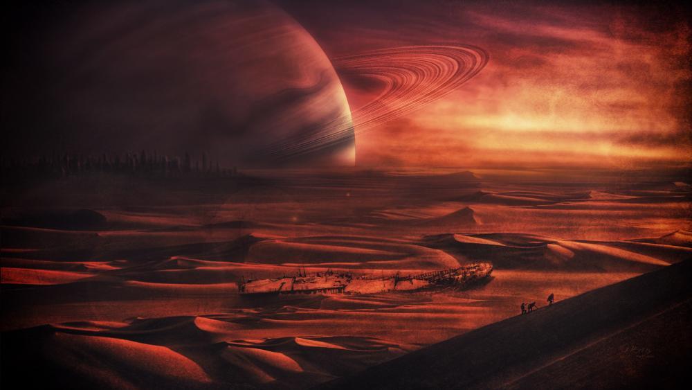 Futuristic red planet wallpaper