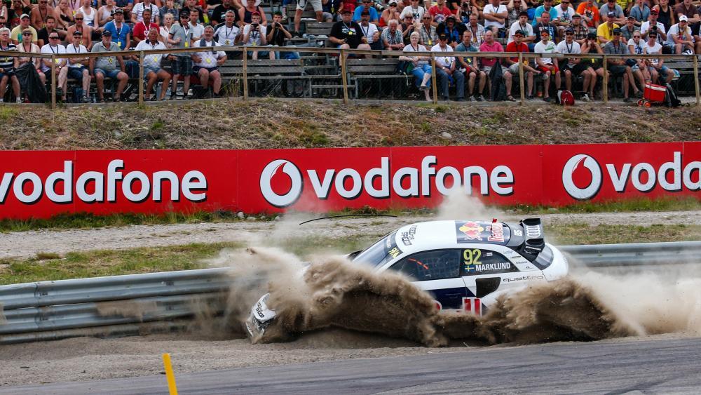 Anton Marklund Crashing his Audi S1 at the 2015 World RX of Sweden wallpaper