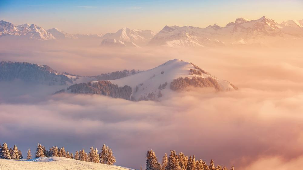 Cloudy peaks wallpaper