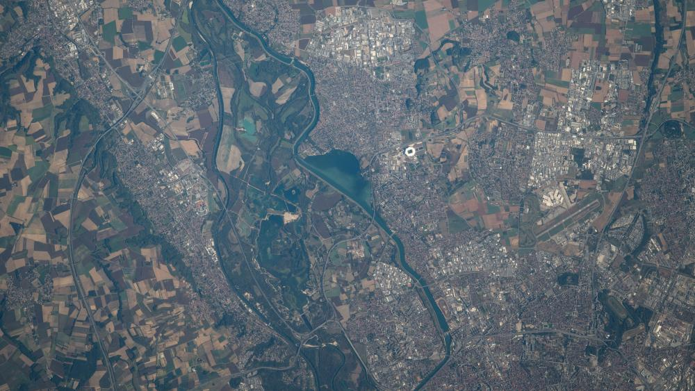 ISS View of Lyon in France wallpaper