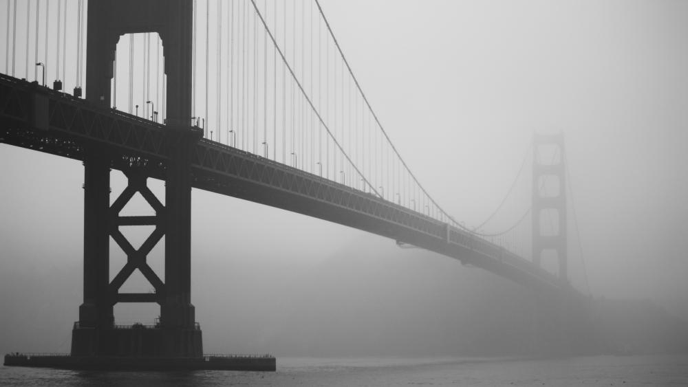 Golden Gate Bridge black and white photo wallpaper