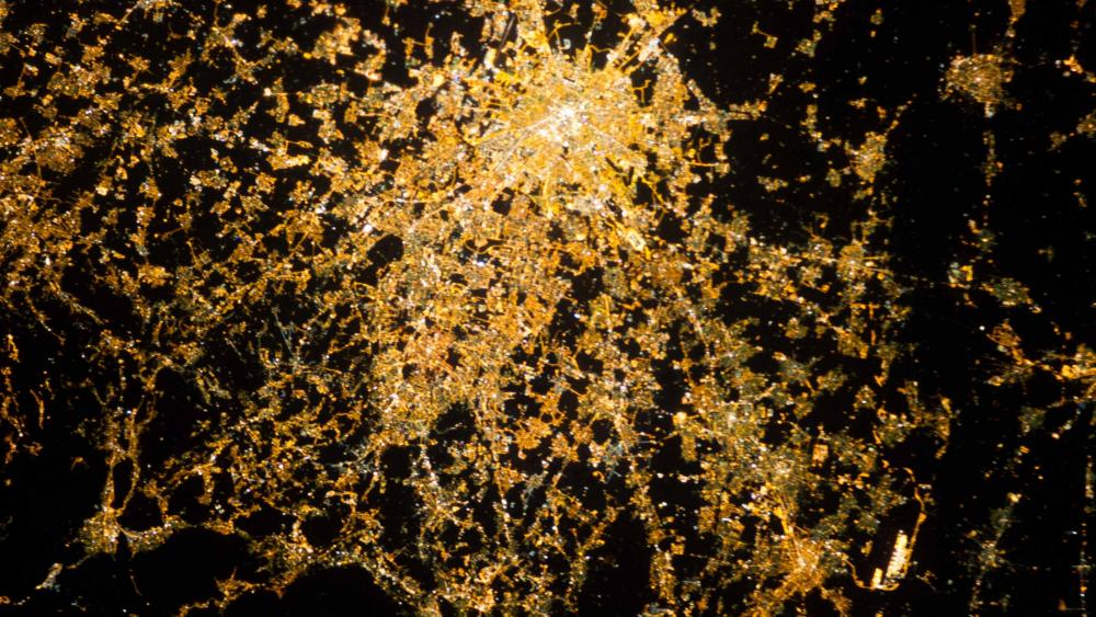 View of Milan at Night from the International Space Station wallpaper